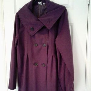Roxy Double Breasted pea coat deep purple